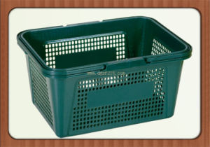 Portable Colored Plastic Supermarket Basket with Plastic Handles for Sale pictures & photos