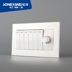 Electric Switch White Series 6gang+Dimmer Wall Switch