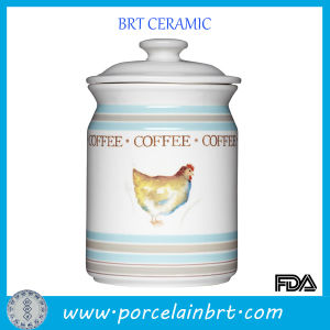 Ceramic Coffee Storage Jar with One Hen in Centre pictures & photos