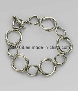Fashion Sterling Silver Round Link Bracelet ((SSB-011)