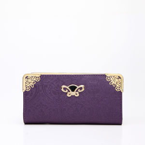 Hot Purple Shining Metal Detailed Lady Wallet (MBNO037154) pictures & photos
