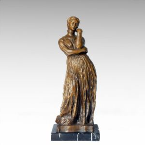 Female Bronze Sculpture Villege Lagy Decor Brass Statue TPE-391