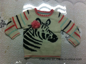 Zebra Sweater with Corsage Flower Details pictures & photos