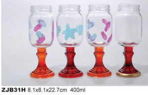 Color Glass Jam Jar with Stand Creative Glass Product