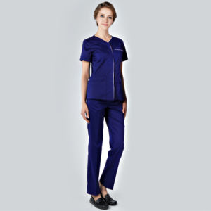 65%/35% Polycotton Unisex Scrubs Sets Natural Hospital Top & Pant Nursing Uniform Work Scrub Sets pictures & photos