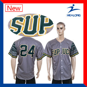 Healong Cheap Digital Printing with Embroidery Logo Mens Baseball Jersey pictures & photos