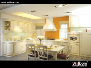 Welcom Solid Wood Veneer Kitchen Cabinet pictures & photos