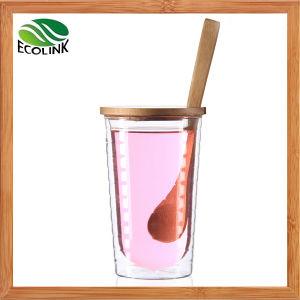 Double Wall Glass Cup with Bamboo Lid and Spoon pictures & photos