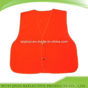 Red Flourescent Vest with Snap Fastener