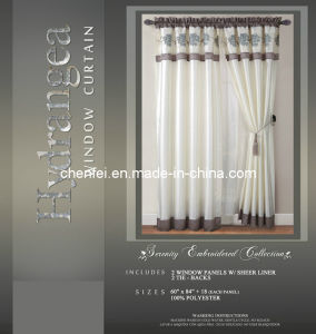 Embroidered Metal Rod Style Window Curtain with Sheers Liner