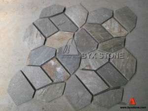 Beige Grey Crazy Flagstone Mats Slate for Flooring Tile pictures & photos
