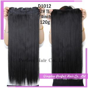 Clip in Human Hair Extensions Jet Black pictures & photos