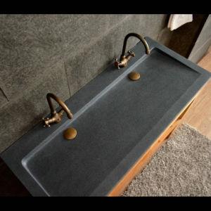 Bathroom Dark Grey Granite Double Vessel Sink pictures & photos
