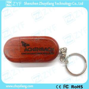 Custom Logo Oak Wood USB Pen Drive with Keychain (ZYF1352)