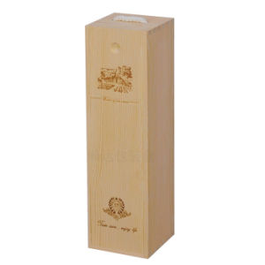 Customized Single Bottle Wooden Box with Logo Laser Engraved pictures & photos