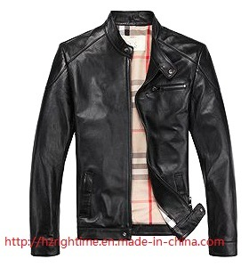Men′s Clothing 100%PU Woven Washing Jacket with Collarstand (RTJ14004) pictures & photos
