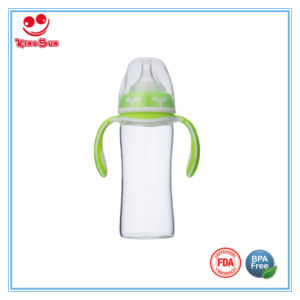 240ml Wide Mouth Glass Baby Bottles with Double Colors Handle pictures & photos