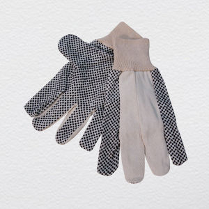 Drill Cotton Work Glove with PVC Dots (2203) pictures & photos
