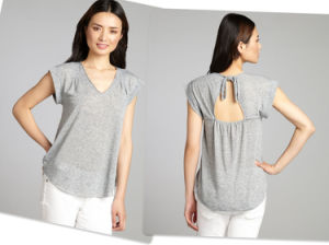 Grey Tied Open Back Top