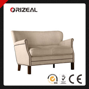 Professor′s Upholstered Double Seat Sofa Furniture with Nailheads (OZ-CC-054) pictures & photos