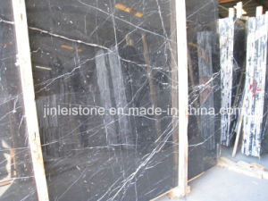 Precut Chinese Natural Black Marquina Marble for Bathroom Tile pictures & photos