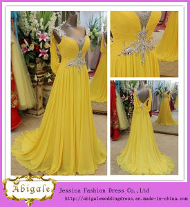 New Design with Swarovski Crystals and Beads V Neck Floor Length Sweep Train Evening Dress 2014 (LH0034) pictures & photos