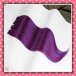 Remy Human Hair Extension Tape Hair Silky 20inch Color Purple pictures & photos