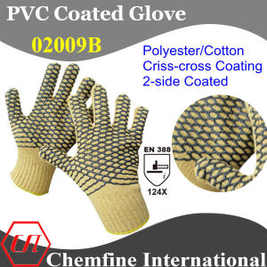 10g Yellow Polyester/Cotton Knitted Glove with 2-Side Black PVC Criss-Cross Coating/ En388: 124X pictures & photos