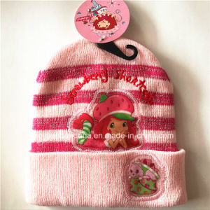 China Factory Customized Cartoon Design Acrylic Knit Jacquard Warm Fold Beanie Hat pictures & photos