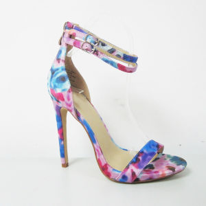 2017 New Design Lady Fashion High Heel Sandal Shoes with Floral Print pictures & photos