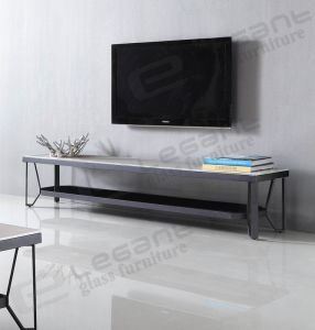 crystal White Painting Glass TV Stand on Black Powder Coating Iron Frame pictures & photos