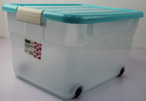 Medium Size 55L Cheap Plastic Storage Box with Wheel pictures & photos