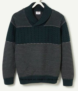 Kid′s Sweater Cable Knitted with Shawl Collar for Boys pictures & photos