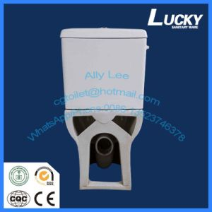 Popular Floor Mounted Lucky Sanitary Ware Wash Down S-Trap Two-Piece Toilet with Ce Certificate pictures & photos