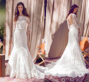 3/4 Sleeves Lace Bridal Dress Mermaid Lace Wedding Dress Lb1812 pictures & photos