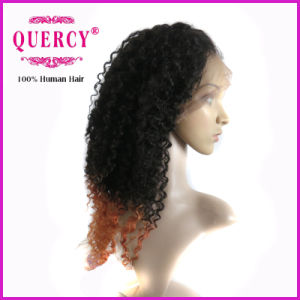 Two Color Omber 100% Brazilian Virgin Remy Afro Curl Front Lace Wig Human Hair pictures & photos
