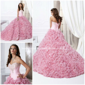 Pink Strapless Beading Cascading Ruffles Ball Gown Quinceanera Dress Yao52 pictures & photos