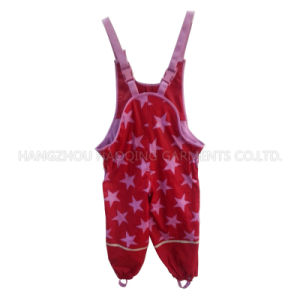 Red Pink Star PU Suspender Rain Pants pictures & photos