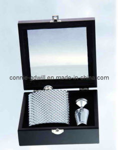 Stainless Steel Hip Flask Set in Window Box