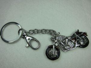 Metal Key Ring With Motorbike Pattern