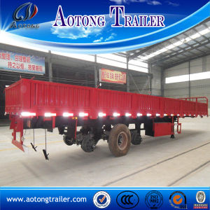 40tons Bulk Cargo Side Wall Semi Trailer, Tri Axle Side Panel Trailer with 600mm Side Wall pictures & photos
