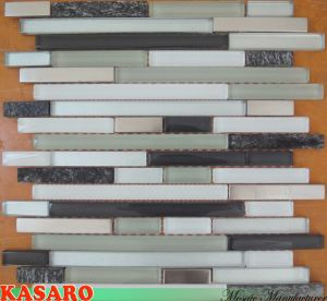 Strip Mosaic Wall Tile Glass Stone Mix Stainless Steel Mosaic Tile (KSL7710)