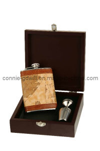 Stainless Steel Hip Flask Set in Wooden Box (SETC606KPU)