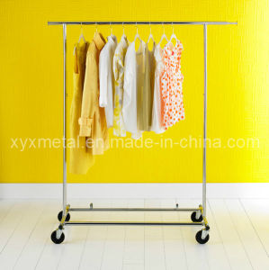 Chrome Single Rail Collapsable Rolling Garment Rack pictures & photos