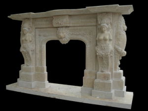 Lion Sculpture Travertine Stone Fire Surround, Fireplace (LY013) pictures & photos