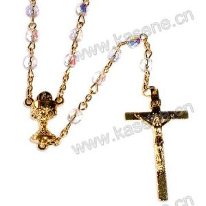 Different Shape Crystal Beads Catholic Rosaries Necklace, Rosary Beads