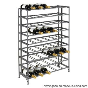 Wholesals 56 Bottles Gray Powder Coated Metal Wine Display Rack pictures & photos