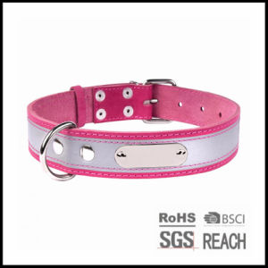 High Visibility Reflective Pink Leather Pet Puppy Dog Collar pictures & photos