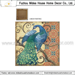 Peacock Printed Linen Fabric for Home Decoration pictures & photos