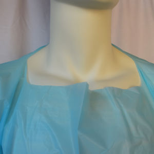Waterproof Blue Film Gown, CPE Gown with Knitted Cuffs pictures & photos